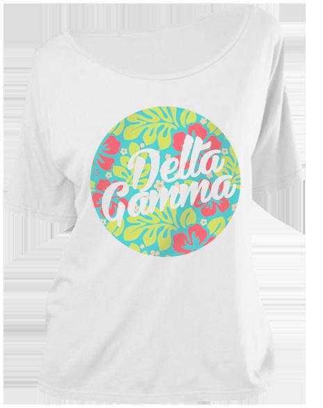 314cd123ff8a Delta Gamma Hawaiian Circle Scoop Neck Tee by Adam Block Design