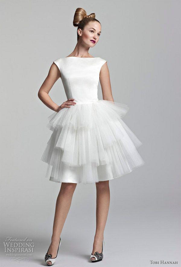 242b09265b5 Tobi Hannah short wedding dress  satin   tulle. Love the vintage feel to it.