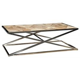 Parquet Reclaimed Elm Stainless Steel Coffee Table