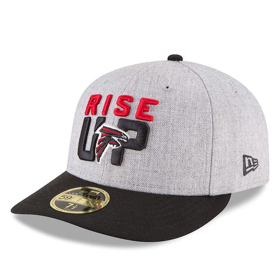 21e6f88408f Men s Atlanta Falcons New Era Heather Gray Black 2018 NFL Draft Official  On-Stage Low Profile 59FIFTY Fitted Hat
