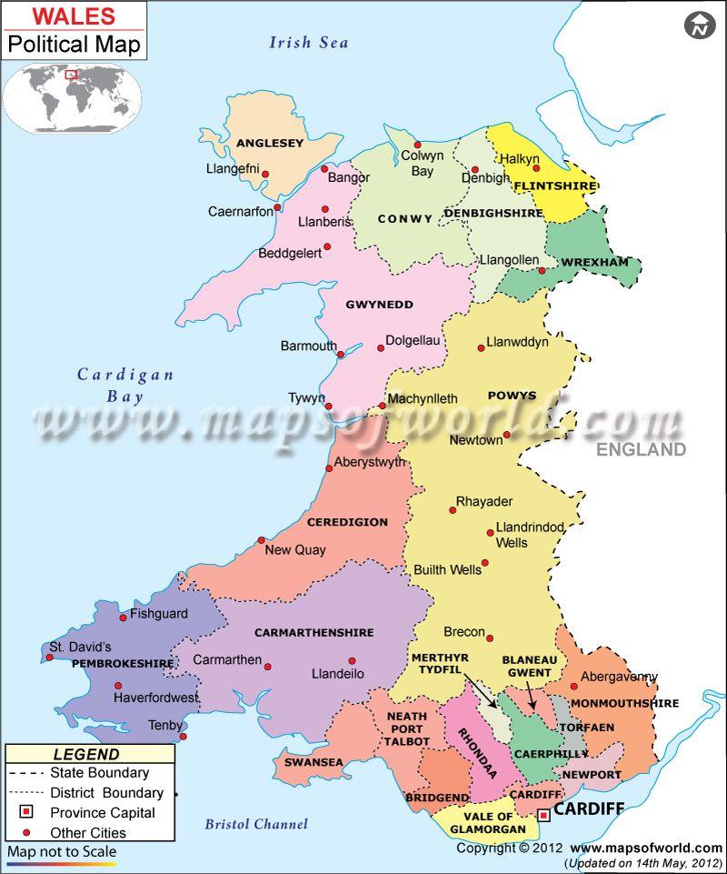 Political map of Wales Homeschool Curriculum Pinterest Wales