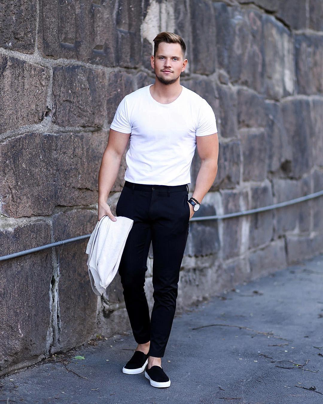 ways to wear a white crew neck tee for men fashion male style