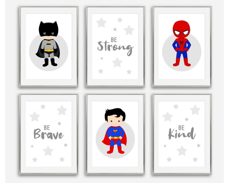 Superhero wall art prints Boys wall prints,Nursery prints Batman wall prints