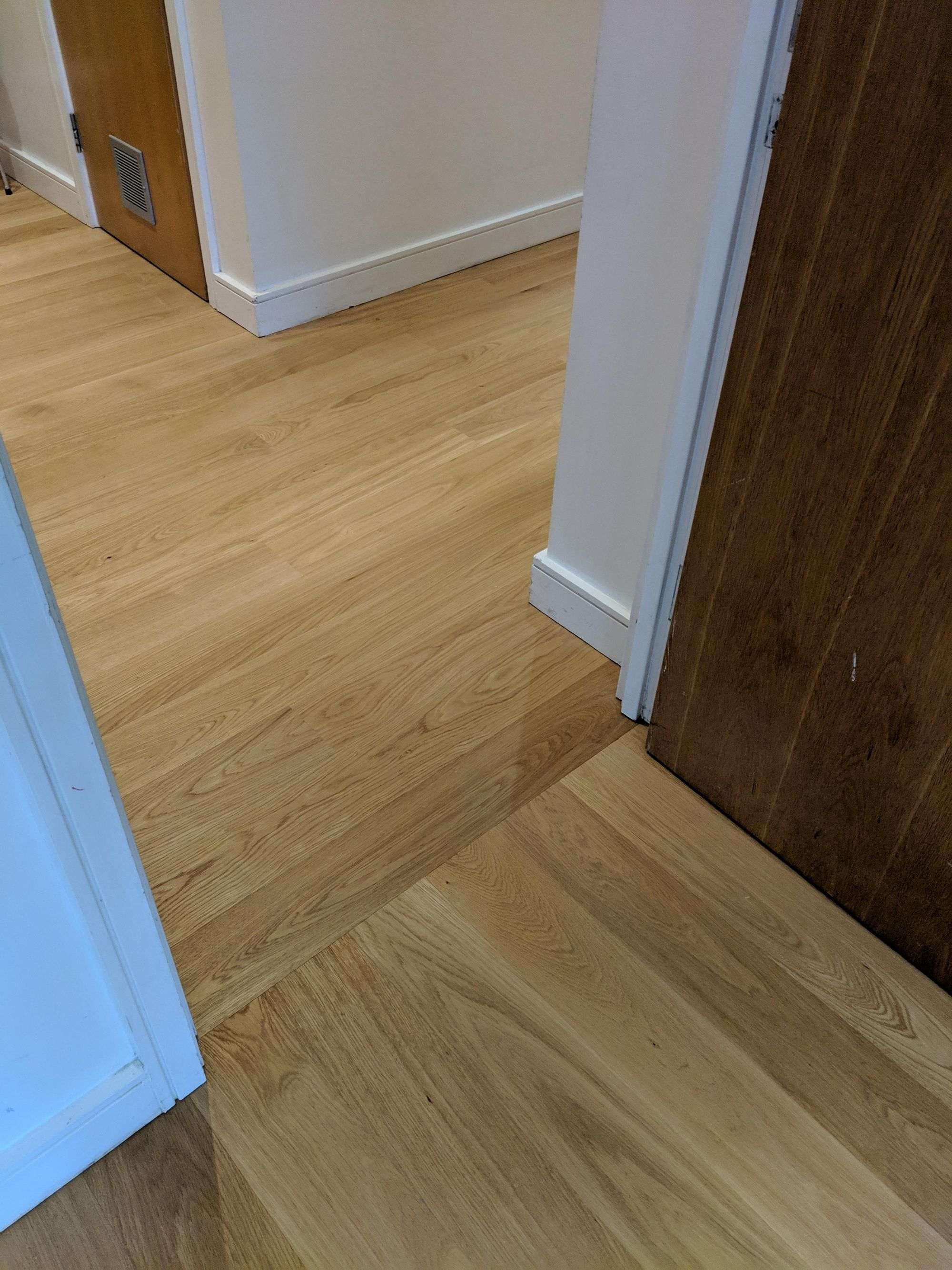 Change In Direction Of Wood Flooring Boards Hardwood Floors Flooring Stairs Cladding
