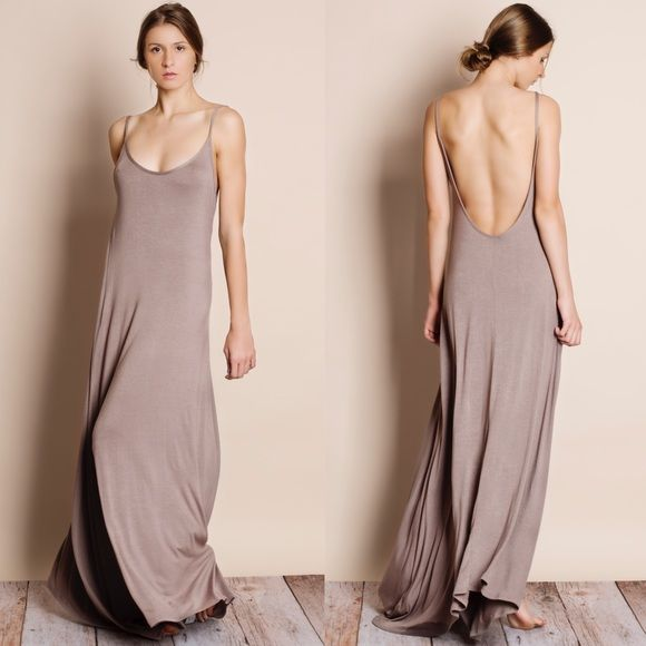 c8ec6499ed2 Low Back   Backless Maxi Dress Low backless maxi dress. Available in black  and mocha. This listing is for the MOCHA. Brand new. Runs large.