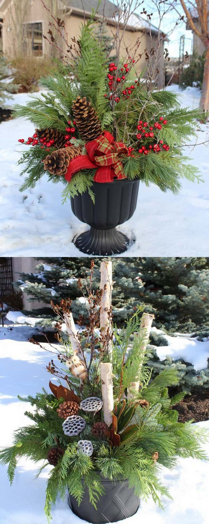 colorful outdoor planters for winter and christmas decorations