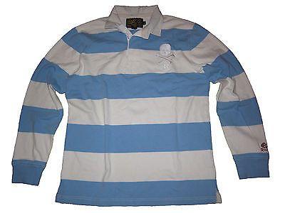 Ralph Lauren Light Blue White Collegiate Stripe Rugby Skull Shirt L