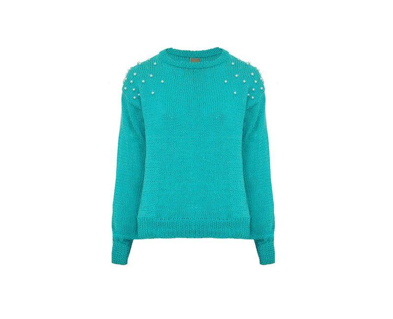 Blusa de tricot com pérolas - verde água
