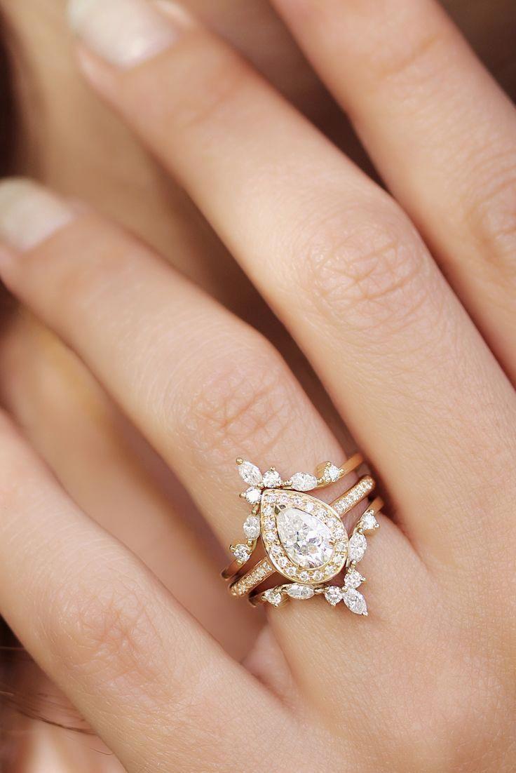 Pear Diamond Wedding Ring Set, Diamond Halo Unique Engagement Ring Set, Marquise Crown Diamond Ring Side Band Hermes Diamond Bridal Set NIA