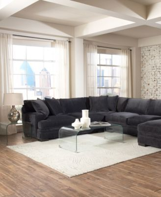 Teddy fabric 4 piece chaise sectional sofa created for for Teddy fabric 4 piece chaise sectional sofa