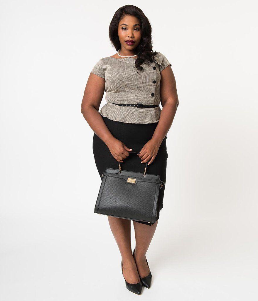 0a430323fa0 Stop Staring! Plus Size 1960s Style Tan   Black Glen Check Rivka Wiggle  Dress