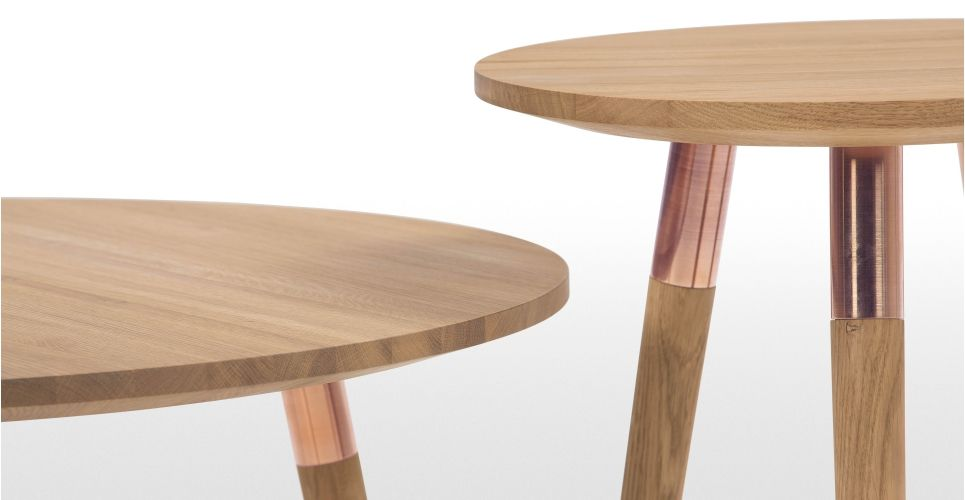 Range Side Table, Oak and Copper | made.com