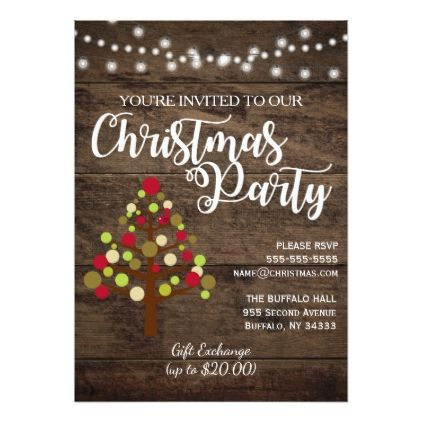 Rustic Country Wood Christmas Party Invitation $201 by - holiday party invitation