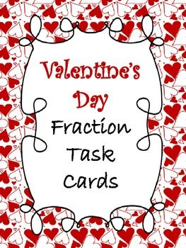 FREEBIE!  Valentine's Day Fraction Task Cards!