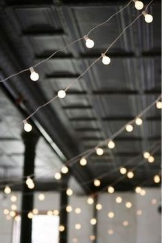 dark ceiling and oversized fairy lights