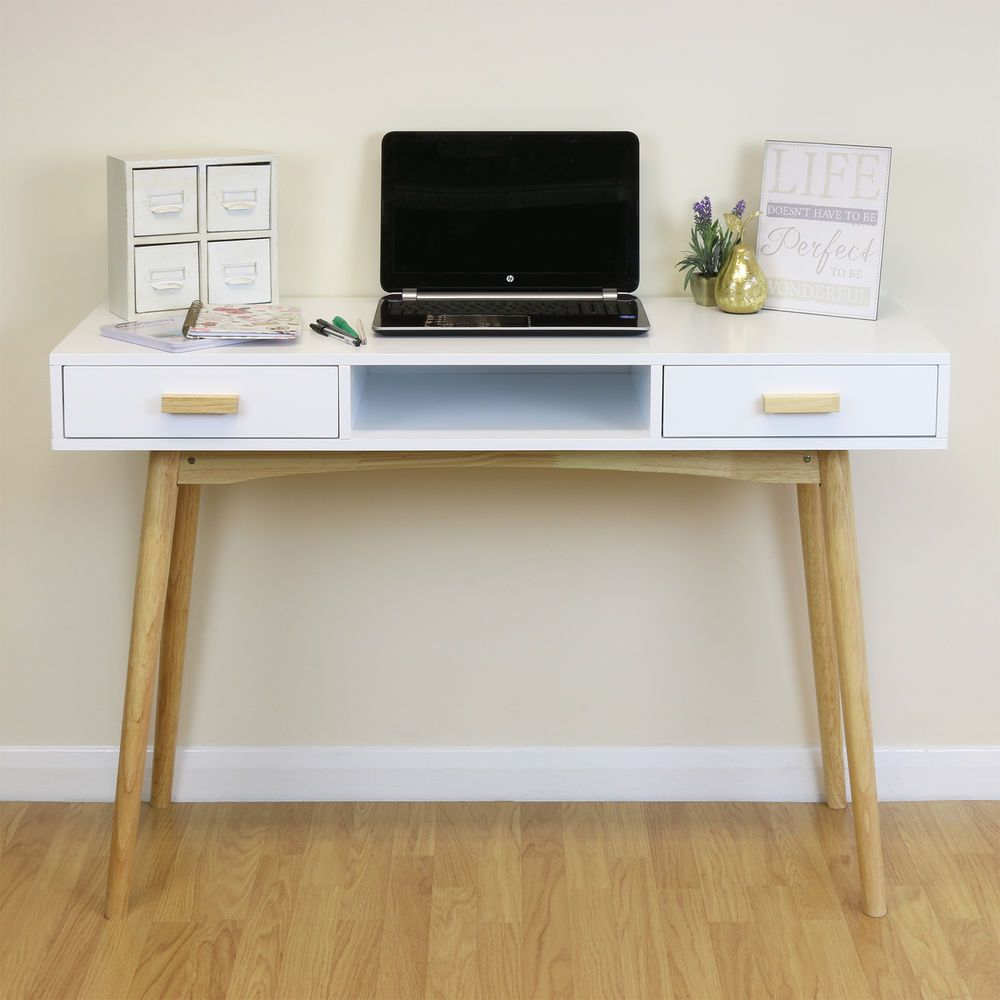 Scandinavian Inspired Dressing Table. Smooth White MDF With Rubberwood Drawer  Handles U0026 Table Legs.