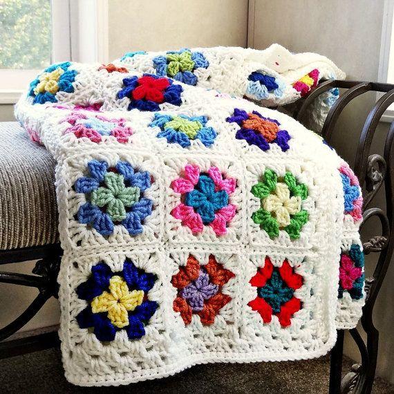 Crochet Afghan, Granny Square Blanket, Crochet Blanket