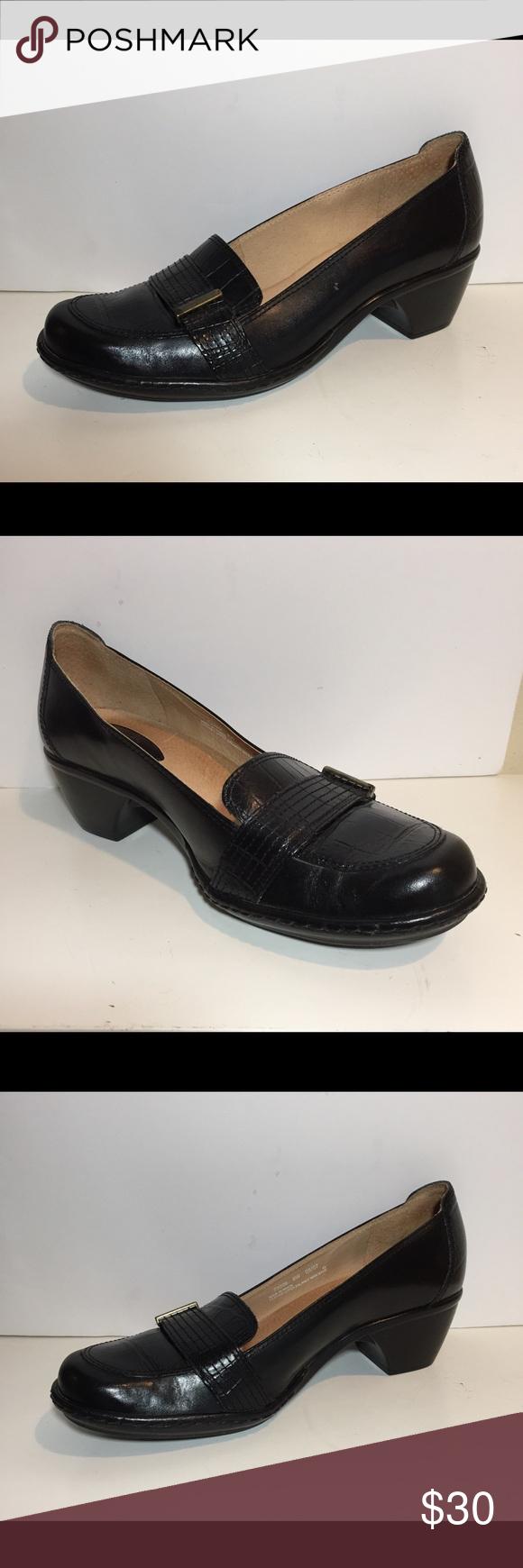 Clarks Artisan Women Shoes Black Leather Sz 8 M Clarks Artisan Collection  Women's Loafers Slip On Heel Wedges Black Leather Size 8 M Heel Height 2