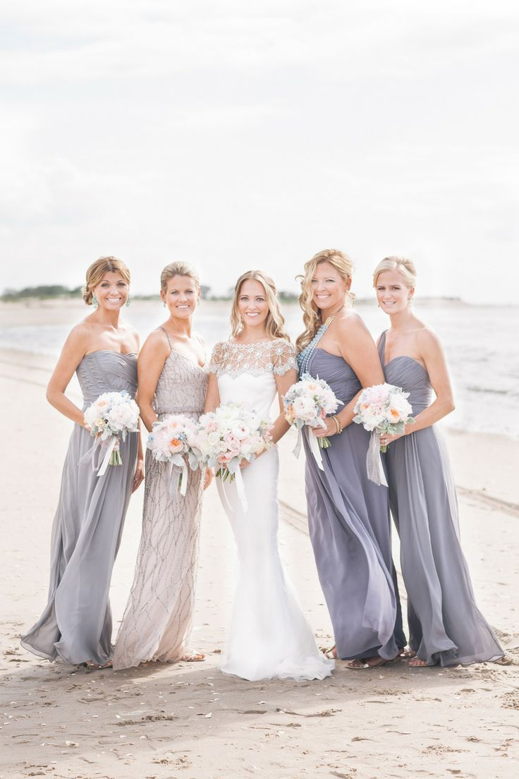 Bride & her Braidsmaids on a beach. Taupe Bridesmaids Dresses ...