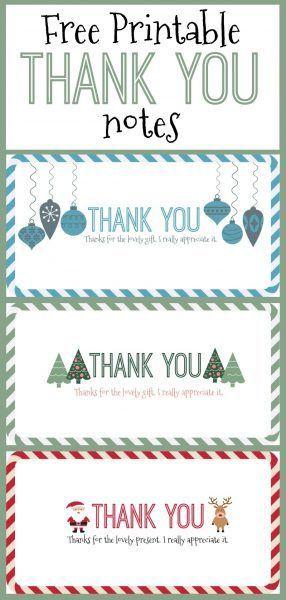 Free Printable Christmas Thank You Notes  Free Printable Note