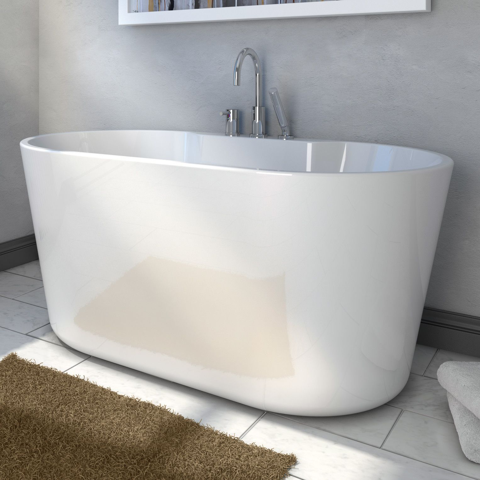 Sophia 56 Inch Freestanding Double Ended Cast Stone Bathtub Stone Bathtub Small Bathtub Free Standing Bath Tub