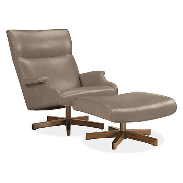 Beau Leather Chair Ottoman With Wood Base In Lecco Leather Modern Accent Lounge Chairs Chair And Ottoman Leather Lounge Chair Leather Chair With Ottoman