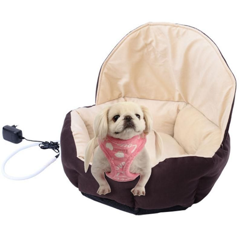 Coffee Electric Round Pet Bed Heated Dog Cat Soft Warm Comfort Pad Cushion New Unbranded Bed Pads Pets Cats Kittens