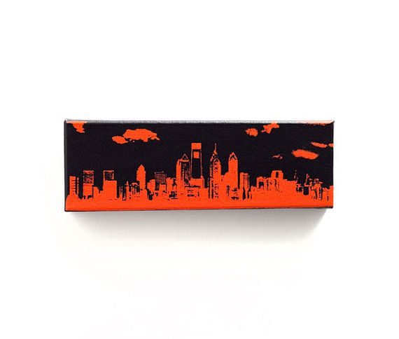 watch b02fa 6286f Philadelphia Skyline Canvas (12 x 4 inches, Black with ...