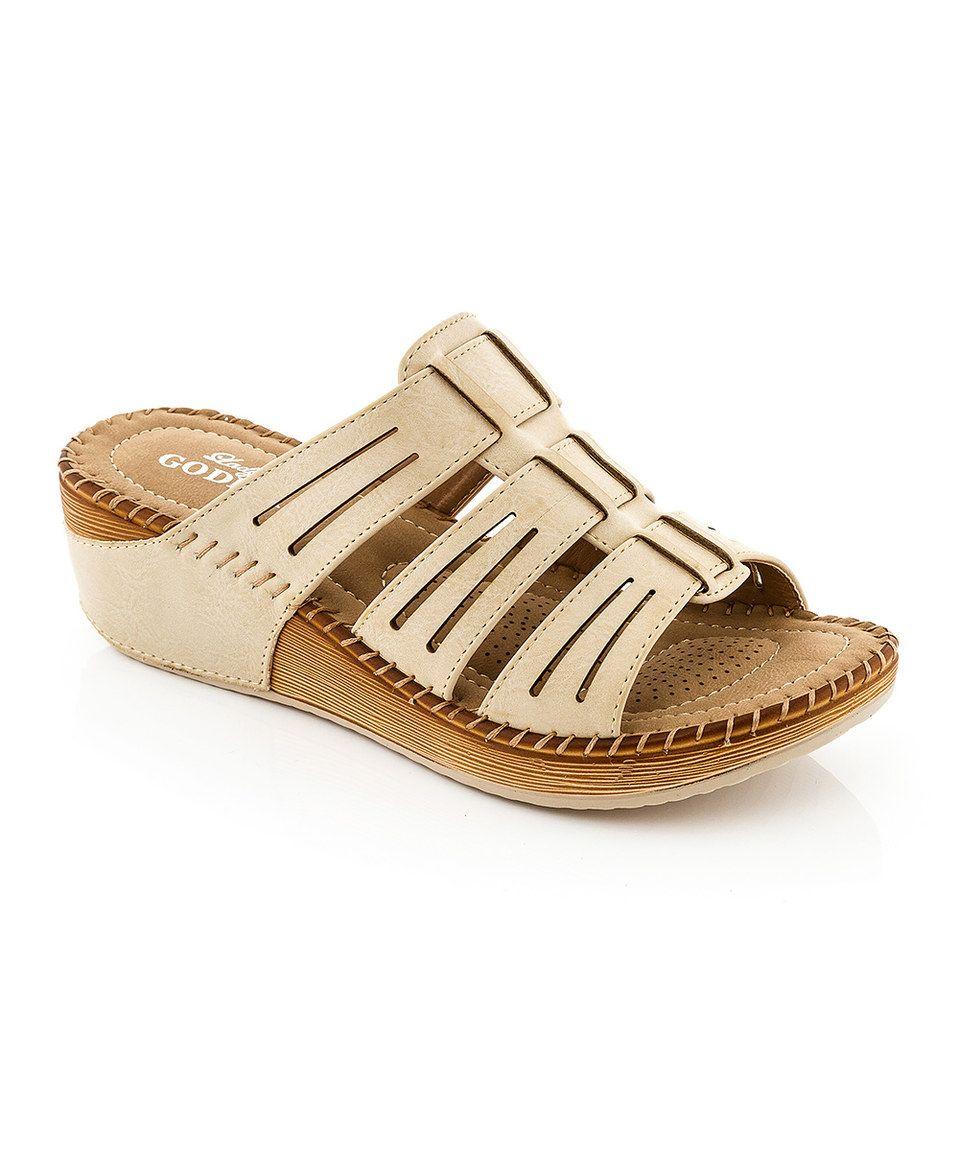 Beige Cutout Strap Sandal By Lady Godiva Zulily Zulilyfinds Sandalet Terlik Ayakkabi Erkek