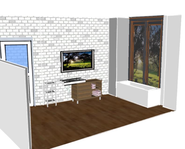 Escaparate interior para potenciar zona de baño en una planta distinta. #diseño #baño #sketchup #propuesta