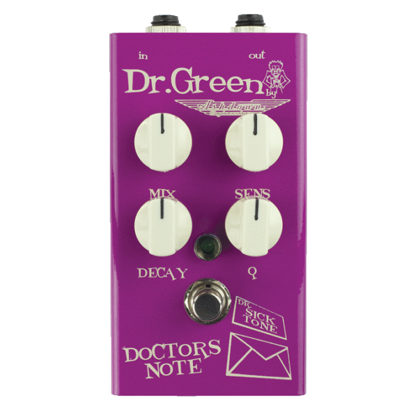 Dr Green Doctors Note envelope filter. Bursting with analog envelope filter tones designed for bass guitar in an easy to use high quality pedal