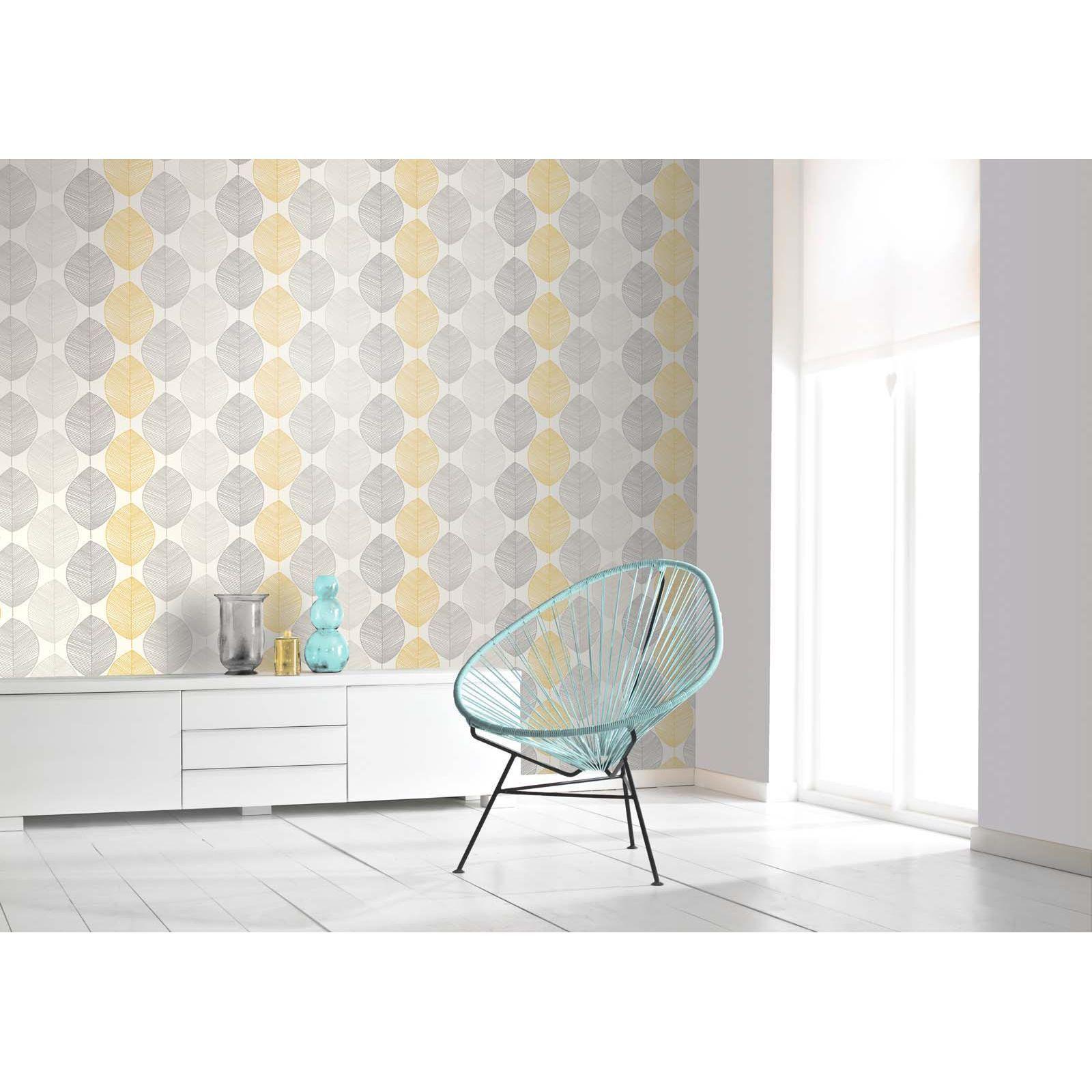 Arthouse Scandi Leaf Yellow Wallpaper Living room