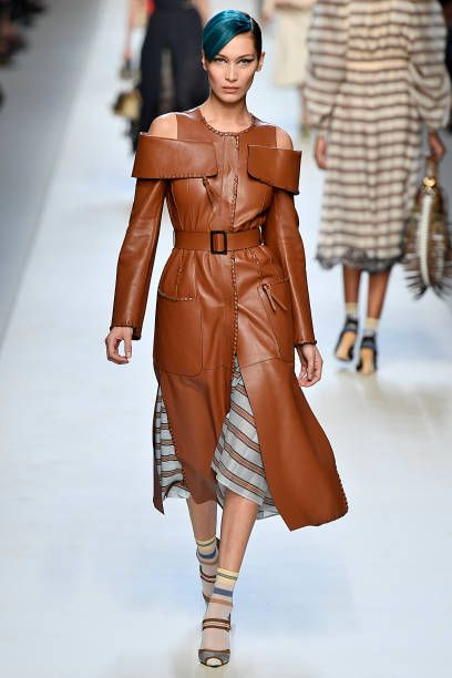 0fcdc08cd9f Bella Hadid walks the runway at the Fendi Ready to Wear Spring Summer 2018 fashion  show during Milan Fashion Week Spring Summer 2018 on September 21.