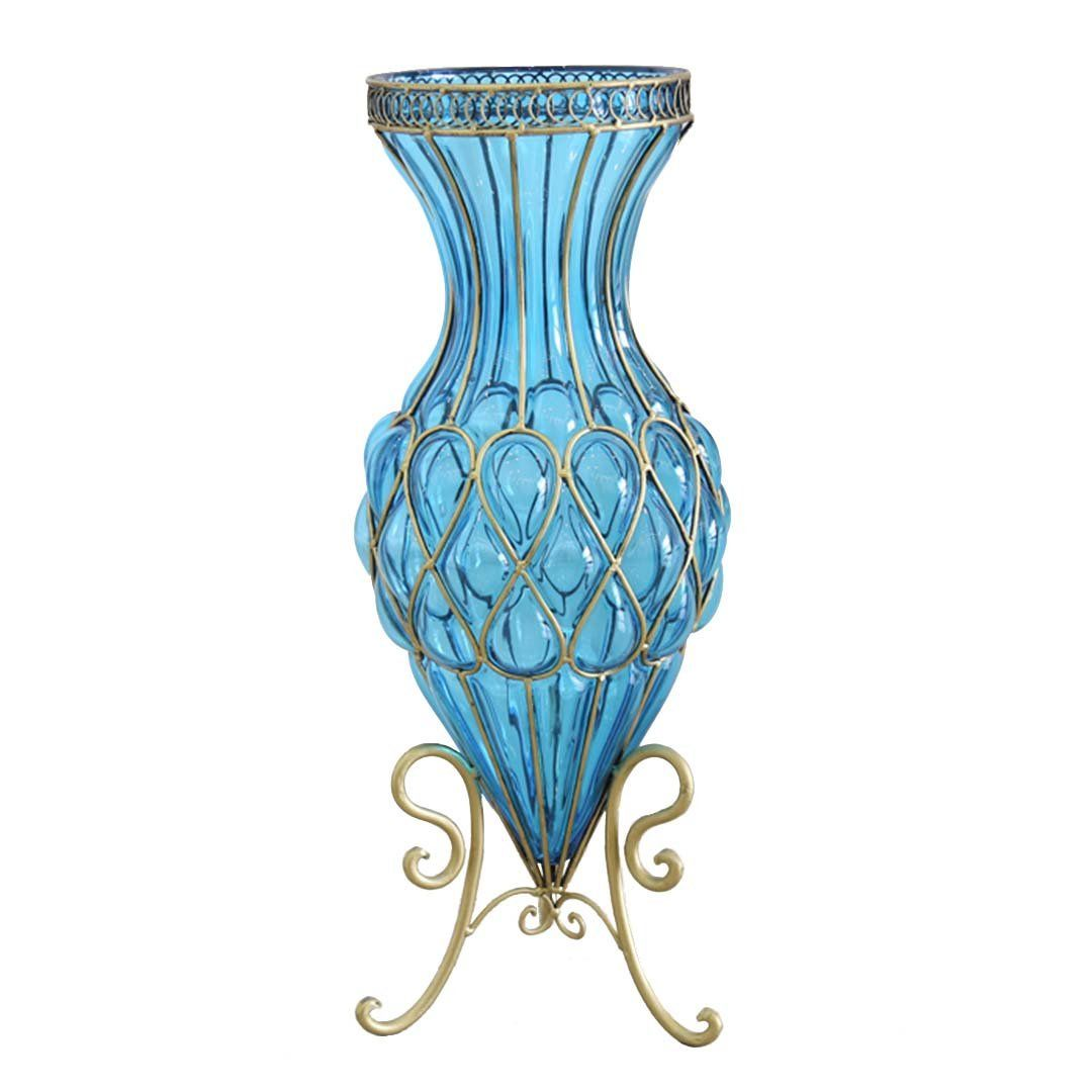 65cm Blue Glass Tall Floor Vase with Metal Flower Stand in
