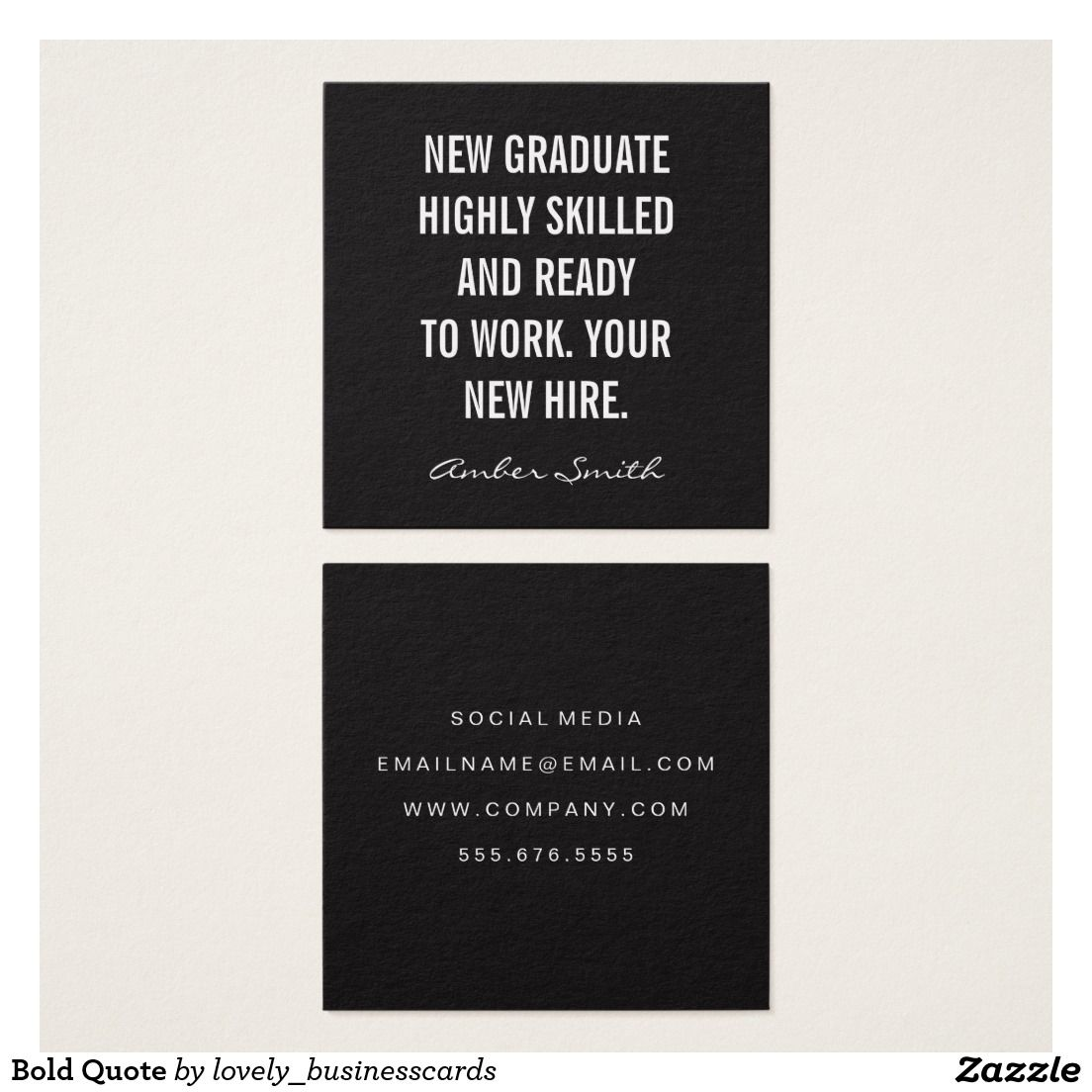 Bold Quote Square Business Card | Pinterest