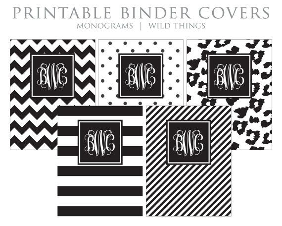 Student Printable Binder Covers And Spines Monogram Binder Etsy Binder Covers Printable Binder Covers Monogram Binder Covers