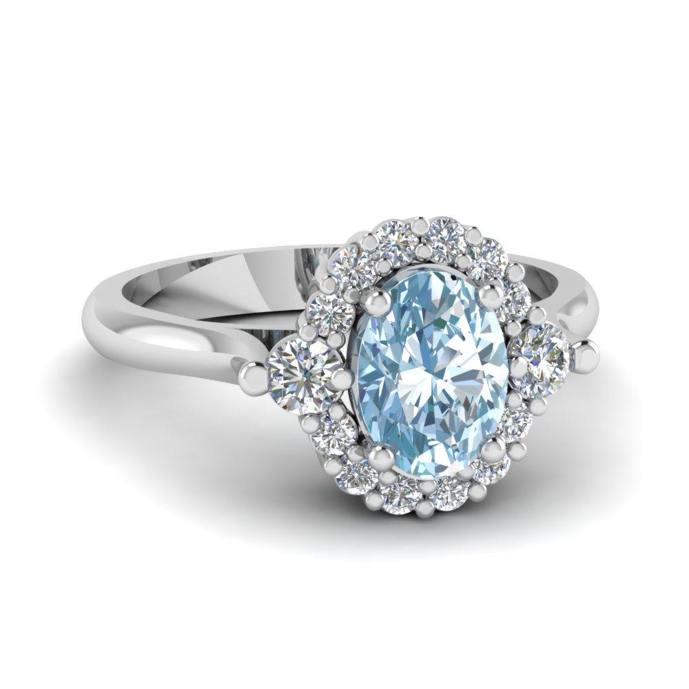 High Profile Aquamarine Halo Engagement Ring In 14K White