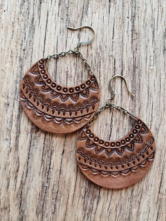 Photo of Handmade leather earrings, leather earrings with tooled mandala pattern, Cresent…