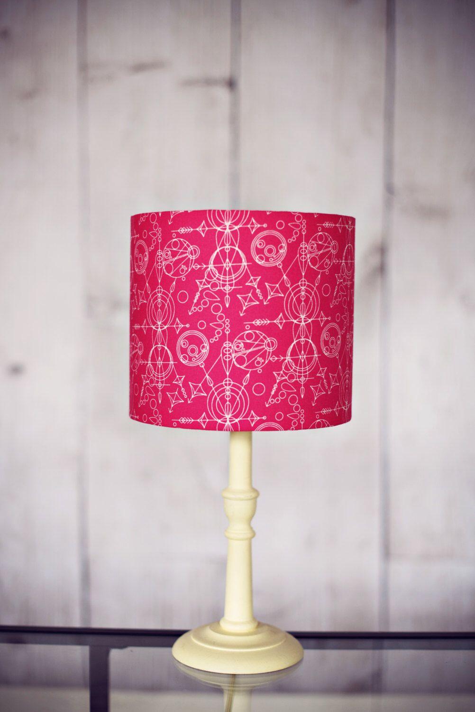 Hot Pink Lamp Shade Geometric Lampshade Pink Lampshade Drum
