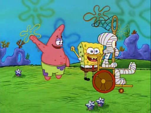 SpongeBob and Patrick cheer Squidward on as Squidward tries to get away from the jellyfish.