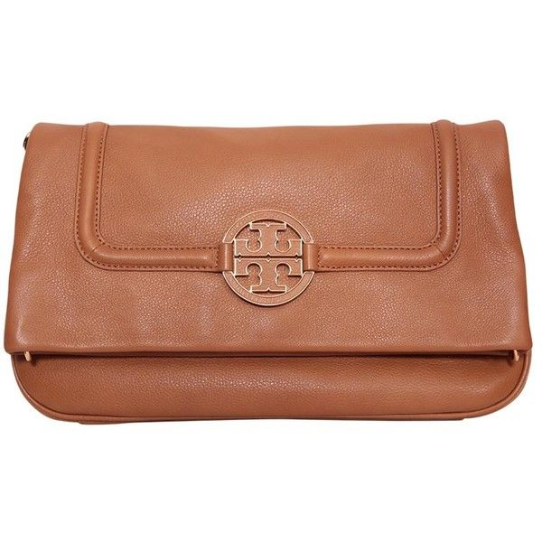 Tory Burch Amanda Foldover Messenger bag (€325) ❤ liked on Polyvore featuring bags, messenger bags, neutrals, tan leather messenger bag, tan messenger bag, flap messenger bag, leather bags and courier bag