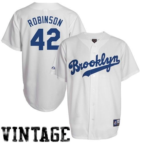 a85a0184 Jackie Robinson Brooklyn Dodgers 42 Majestic Cooperstown Collection  Throwback Jersey – White ...