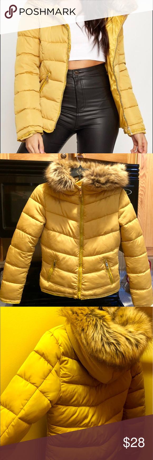 Mustard Gold Puffer Jacket Faux Fur Hood Zippers Faux Fur Hood Faux Fur Jacket Puffer Jackets [ 1740 x 580 Pixel ]