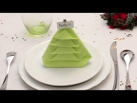 Pliage de serviette en papier le sapin youtube pliages de serviettes - Plier serviette table ...