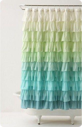 Anthropologie Flamenco Shower Curtain Aqua Ruffled Green Blue Layers 118