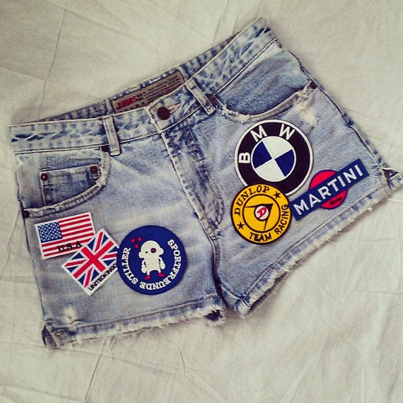 Reworked Vintage Jean Shorts with Patches / Patched Vintage Jean ...