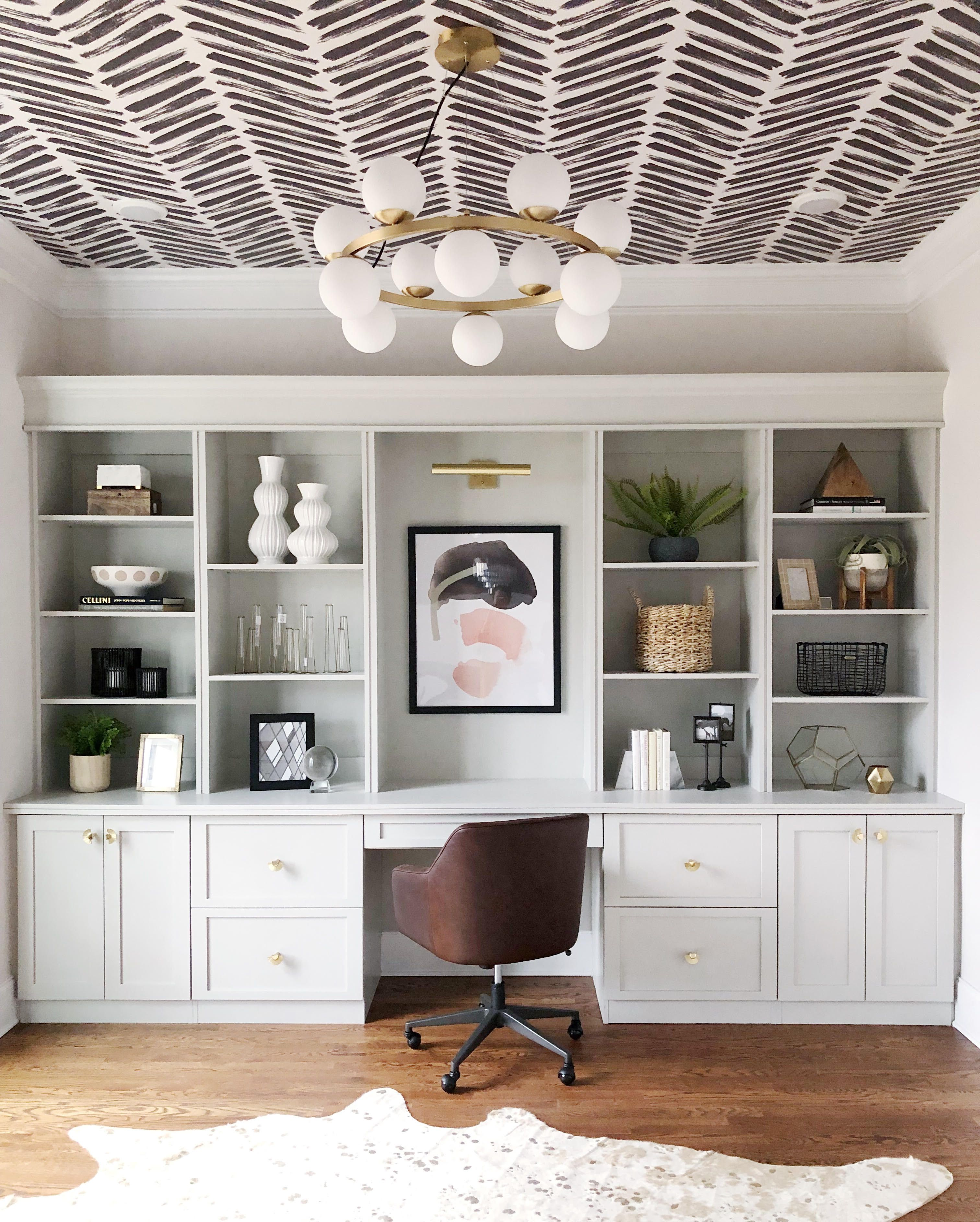 7 Wallpaper On The Ceiling Ideas To Try Now Home Office Design Home Home Office Decor