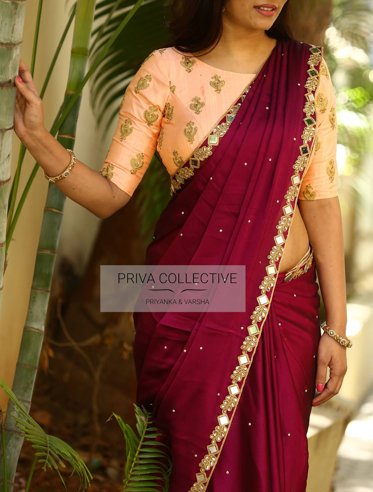 Pv 3586 Peach And Wine Price Rs 4300 Br Steal The Show In This Lovely Num Designer Saree Blouse Patterns Fancy Sarees Indian Saree Blouses Designs
