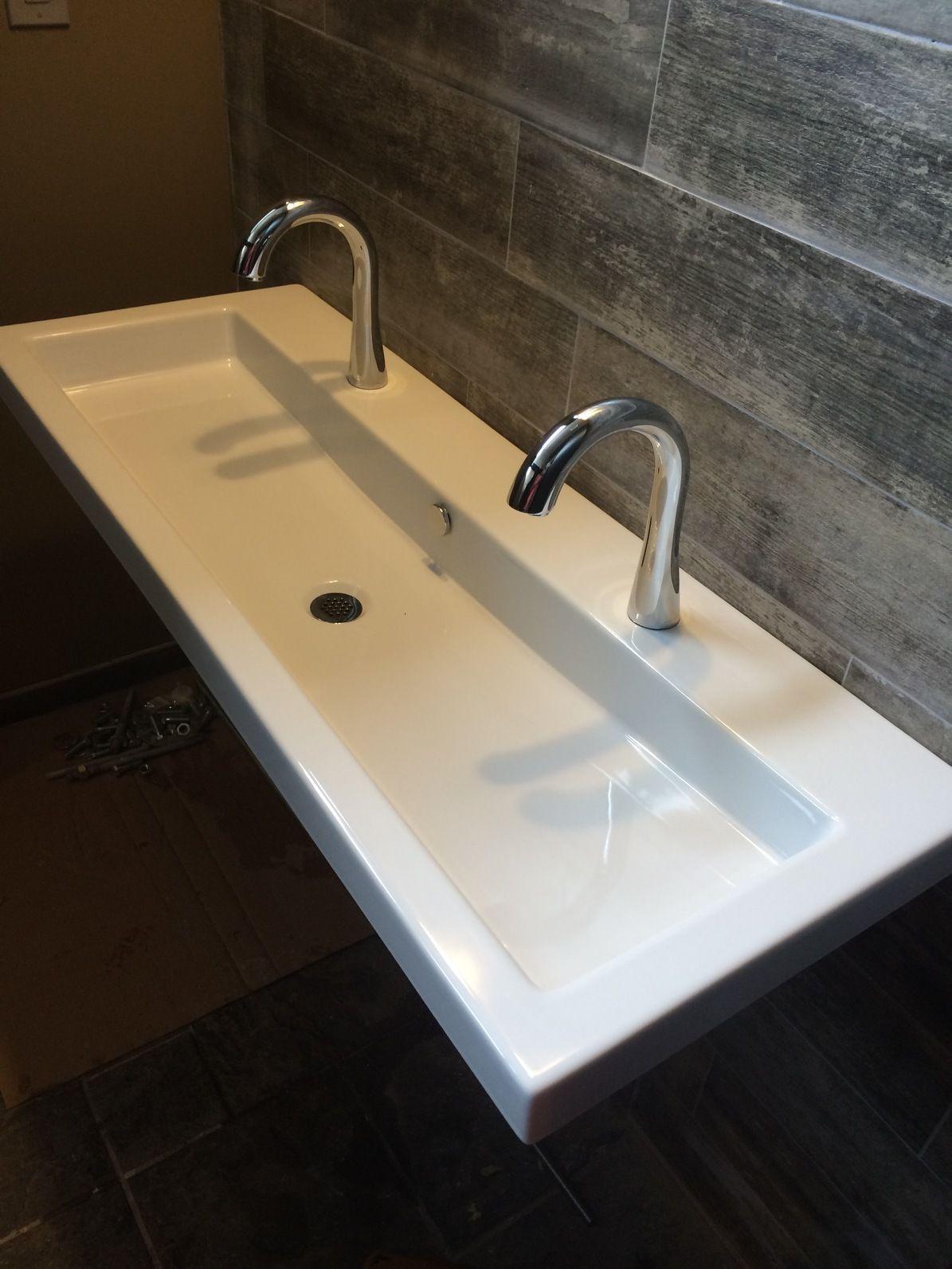 Ecowood Tile Backsplash // Restaurant Bathroom in Doylestown // Reclaimed  Wood Look Tile / - Ecowood Tile Backsplash // Restaurant Bathroom In Doylestown