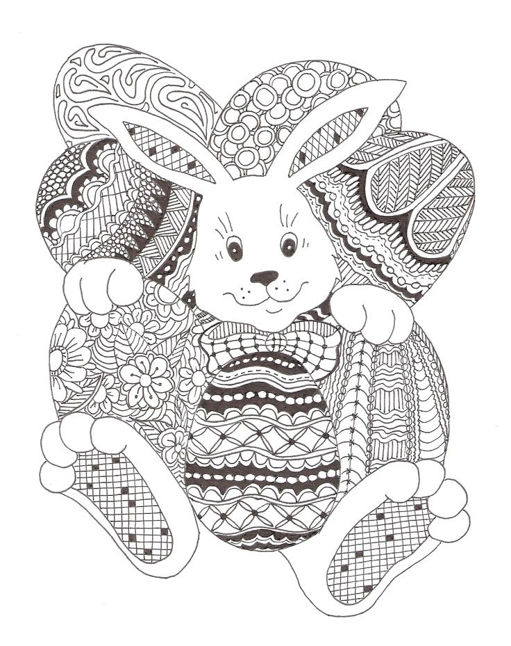 Zentangle Rabbit And Eggs Coloriage Lapin Coloriage Halloween Coloriage Paques